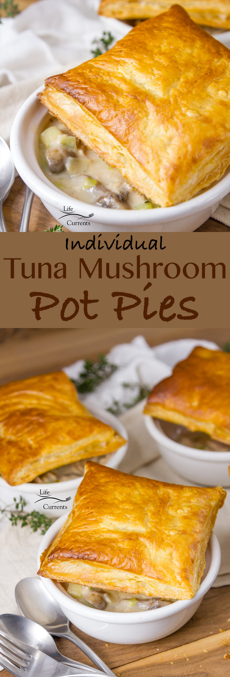 These Individual Tuna Mushroom Pot Pies made with Island Trollers Albacore Tuna are so much fun and super yummy. #ad