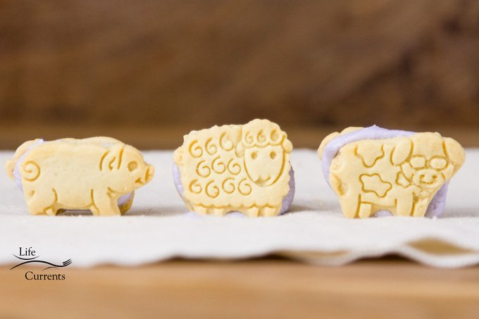 Animal Cracker Sandwich Cookies - animal crackers with purple frosting