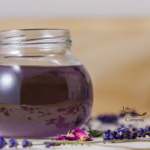 Lavender Simple Syrup Recipe - syrup in a glass jar with flowers all around