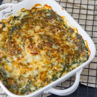 Cheesy Creamed Spinach Gratin Casserole