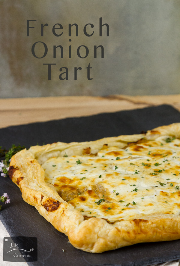 French Onion Tart - Sweet caramelized onions topped with earthy goat cheese, and all baked up in a flaky delicious puff pastry tar