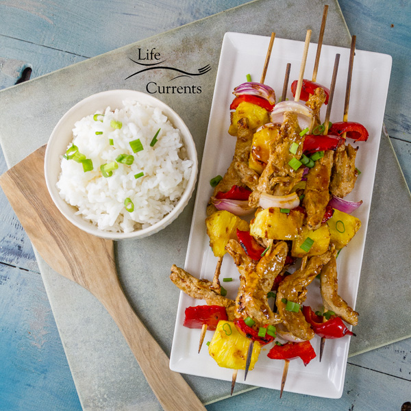 Grilled Teriyaki Chick'n Skewers With a flavorful sauce included, these delicious grilled skewers will be a big hit at your summer party.