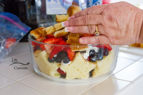 Patriotic Trifle Dessert - more berries and cake, then more whipped cream