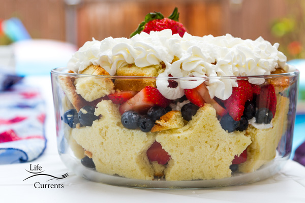 Patriotic Trifle Dessert - the finished dessert!