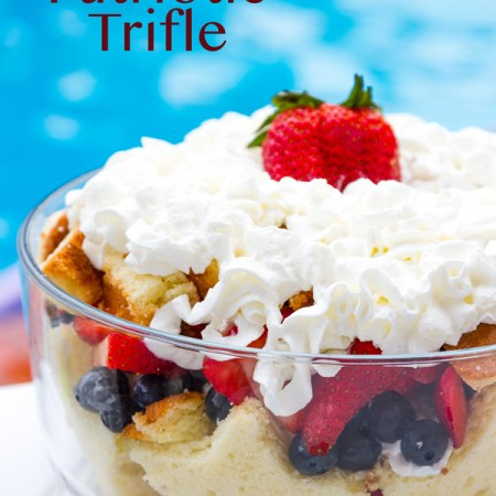 This easy to make, 4 ingredient, Patriotic Trifle Dessert is made of Strawberry & blueberries with vanilla pound cake and whipped cream.