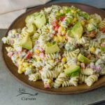Skinny Avocado Ranch Pasta Salad