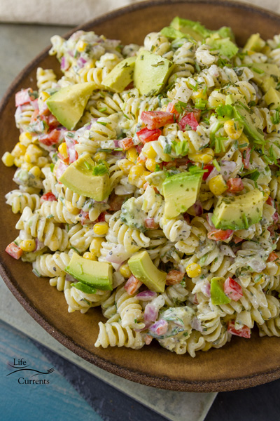 this a Skinny Avocado Ranch Pasta Salad because I used my Skinny Buttermilk Ranch Dressing as my inspiration