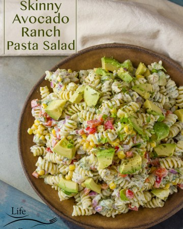 Skinny Avocado Ranch Pasta Salad is a nice creamy flavorful summer side dish with loads of mix-ins like corn and red onion.