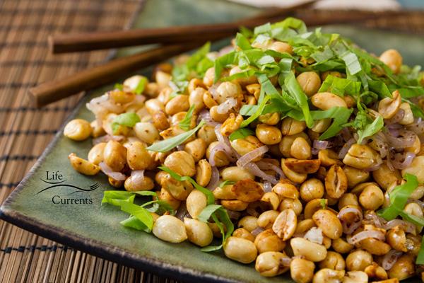 Fried Peanuts with garlic and basil