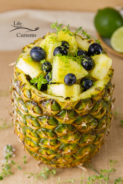 Pineapple Blueberry Fruit Salad in a Pineapple Bowl
