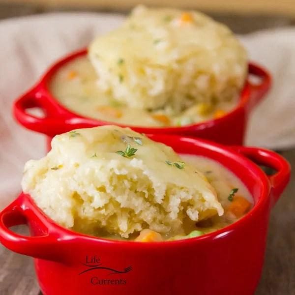 Slow Cooker Vegetarian Pot Pie with buttermilk biscuit crust like dumplings