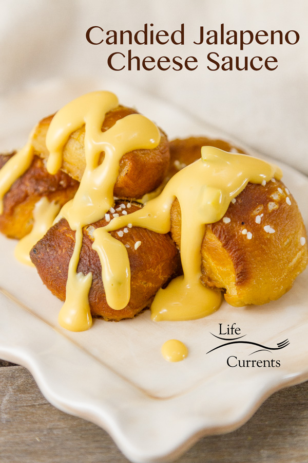 Candied Jalapeno Cheese Sauce - with just the right amount of sweet heat, this sauce pours easily over everything!