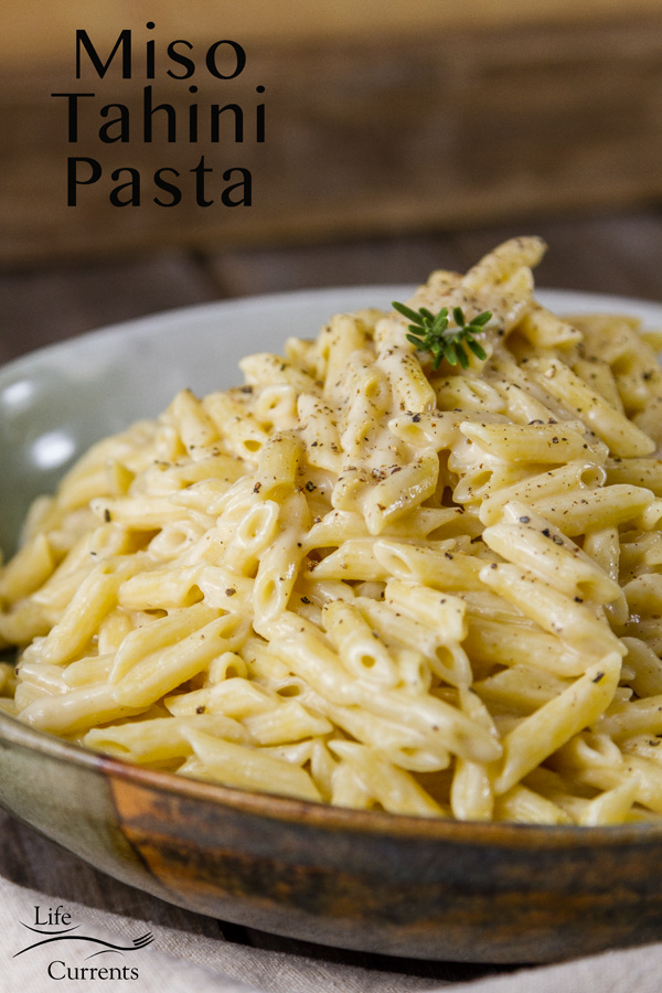 Miso Tahini Pasta is a rich creamy vegan sauce on top of hearty pasta is the perfect easy to make weeknight dinner.