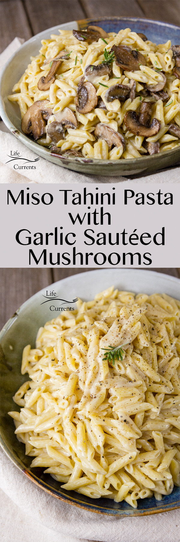 Miso Tahini Pasta with Garlic Sautéed Mushrooms is a rich creamy vegan sauce on top of hearty pasta with earthy garlicky mushrooms is the perfect easy to make weeknight dinner.