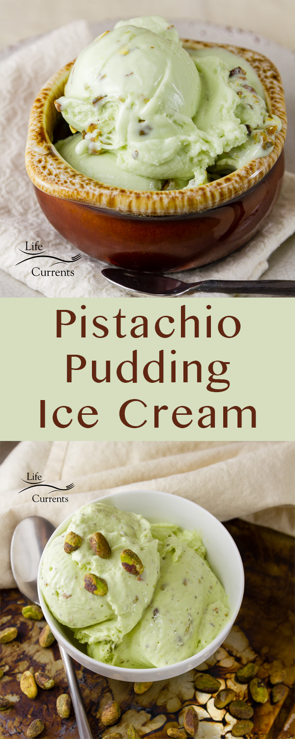 This no cook sweet Pistachio Pudding Ice Cream has a nice soft pudding like flavor and consistency, with a super pretty green color.