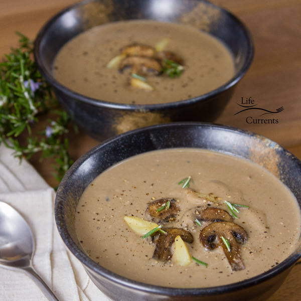 This cozy Roasted Garlic Mushroom Soup is filled with yumminess