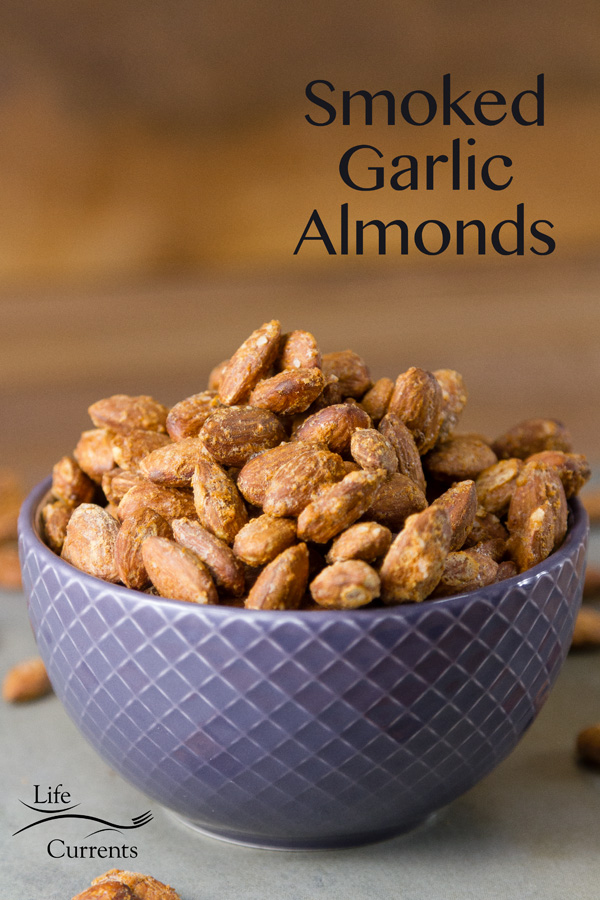 Smoked Garlic Almonds a Healthy game day snack