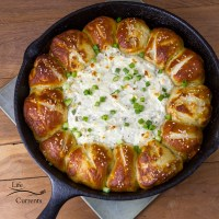 Skillet Pull-Apart Pretzel Buns with Creamy Cheese Dip