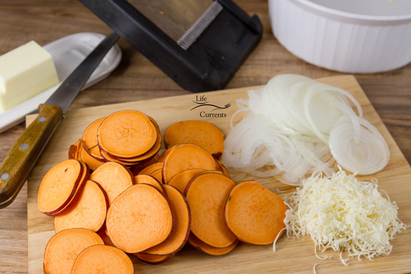 Sweet Potato side dish - my favorite tool for this dish is the Mandoline - Please, I beg you, be careful!