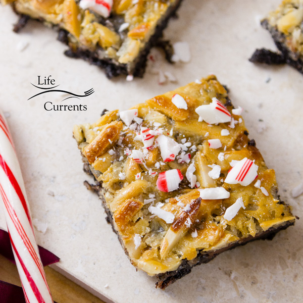 Peppermint Magic Bars  With layers of chocolate cookie crust, chocolate chips, peppermint bark, coconut, and almonds, your taste buds are in for a yummy holiday treat.