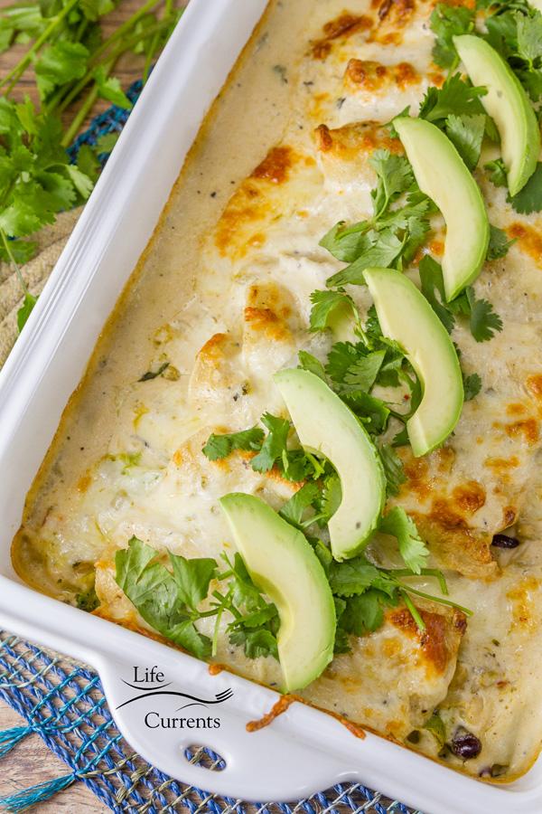 Creamy Verde Fiesta Enchiladas