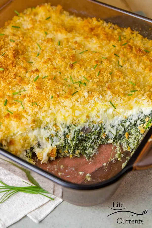 Spinach Mushroom Gratin Side dish delicious Casserole Recipe