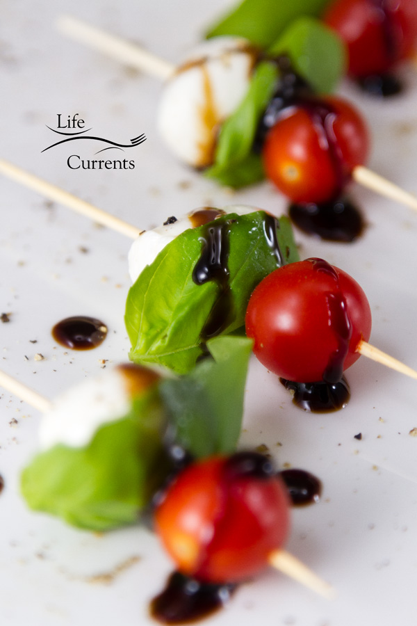 Shrimp Caprese Skewers Appetizer Recipe - perfect for a New Year's Eve party, football party, or any party!