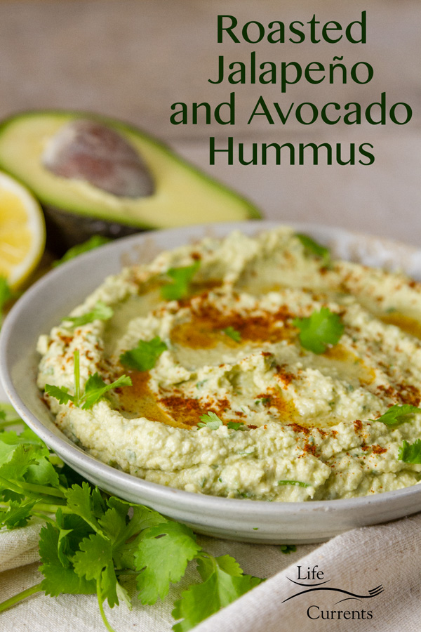 It couldn't be easier to make this Roasted Jalapeño and Avocado Hummus. #snackboulder Once the jalapenos are roasted, simply whirl everything together in a food processor or blender and it's ready in just a few minutes.