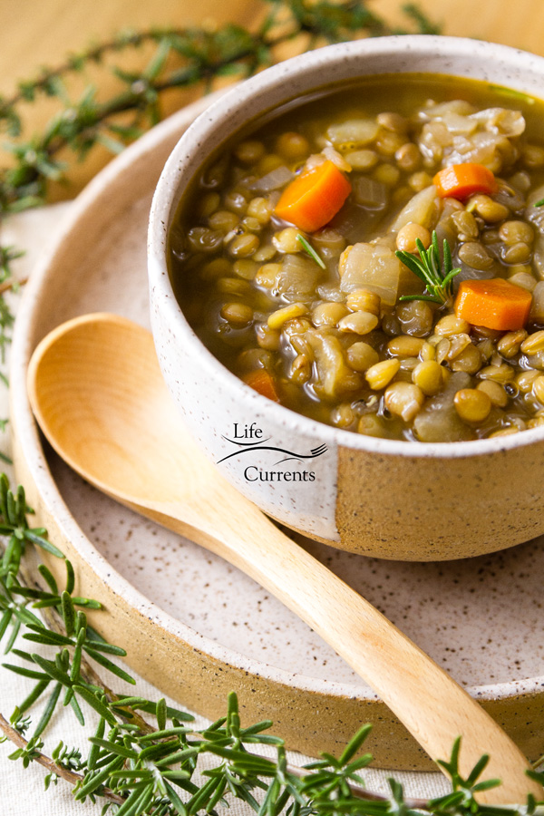 Lentil Soup will help keep you warm and happy inside.