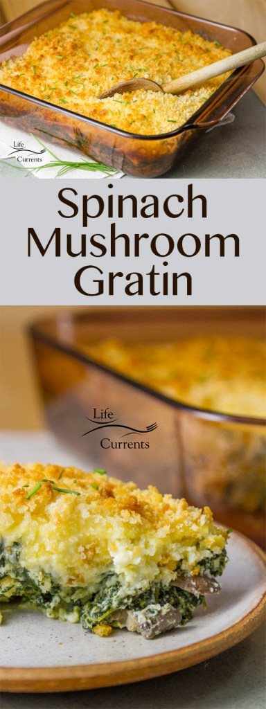 Spinach Mushroom Gratin - A lovely side dish that's filled with iron-rich dark green spinach, mushrooms, creamy ricotta, cheeses, and all topped off with a crunchy bread crumb topping. This casserole is so good!