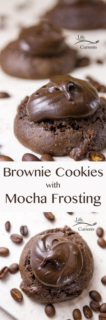 Brownie Cookies with Mocha Frosting Recipe  - Oh my gosh these cookies are the things that dreams are made of. Soft delicious dark chocolate cookies topped with luscious creamy dreamy coffee chocolate frosting.