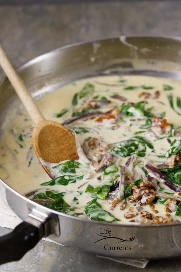 Blue Cheese Spinach Walnut Sauce - the finished sauce, ready to pour over pasta, baked potatoes, chicken, steak, tofu, anything