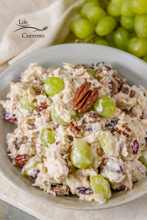 Cranberry Pecan Tuna Salad - try a new twist on the traditional tuna salad - with cranberries, pecans, and grapes