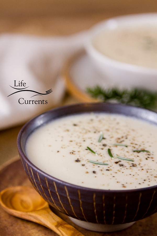 Cream of Garlic Soup is silky smooth, full flavored, creamy, with a nice bite of garlic.