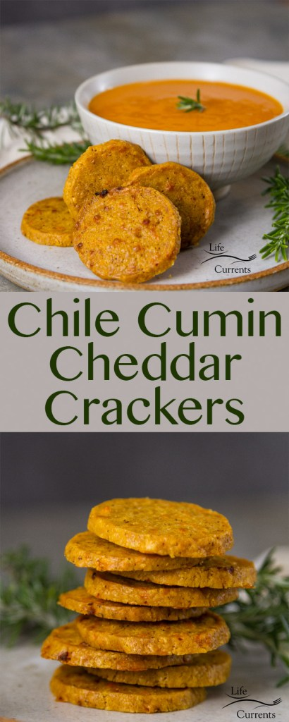 Chile Cumin Cheddar Crackers Zesty and delicious little nibbles of cheesy goodness go great on a cheese platter, with soup or salad. Or, just snack on them by themselves. They have enough flavor and personality to keep you happy.