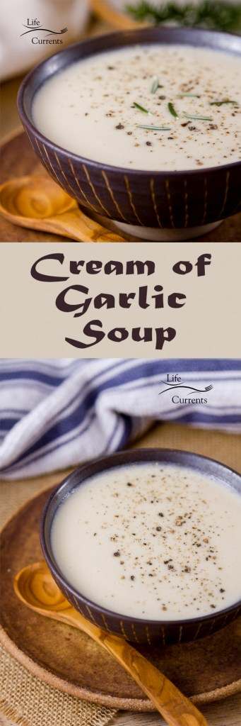 Cream of Garlic Soup is silky smooth, full flavored, creamy, with a nice bite of garlic. If you're a garlic lover, you need this soup in your life!