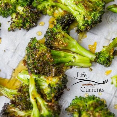 Honey Orange Roasted Broccoli Recipe – deep roasted broccoli drizzled with sweet honey orange sauce
