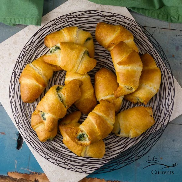 Spinach Mushroom Crescents – I always love having a side dish or an appetizer that has a little sneaky vegetable inside. And, these are a great way to do that. The filling looks pretty as it sticks out, and adds a nice flavor to the crescents.