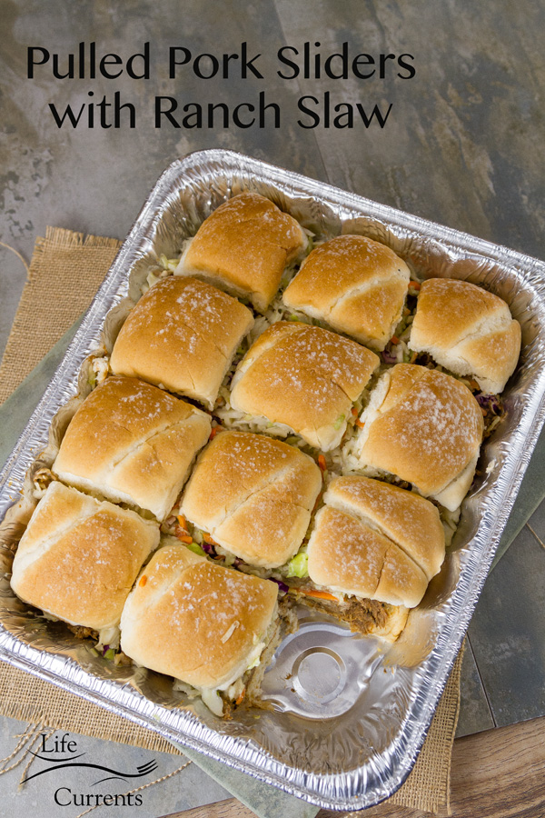 Crock pot or slow cooker Pulled Pork Sliders with Ranch Coleslaw a tray full for a party