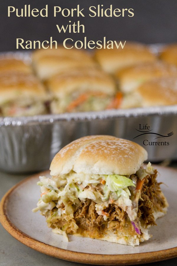 Pulled Pork Sliders with Ranch Coleslaw Simple to make pulled pork from the crock pot or slow cooker. Piled high onto slider buns and served with ranch coleslaw.