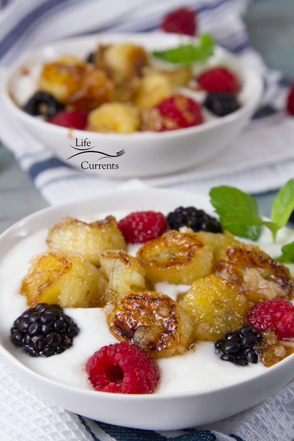 These simple to make Caramelized Banana and Yogurt Parfaits are amazingly delicious for breakfast, brunch, or dessert
