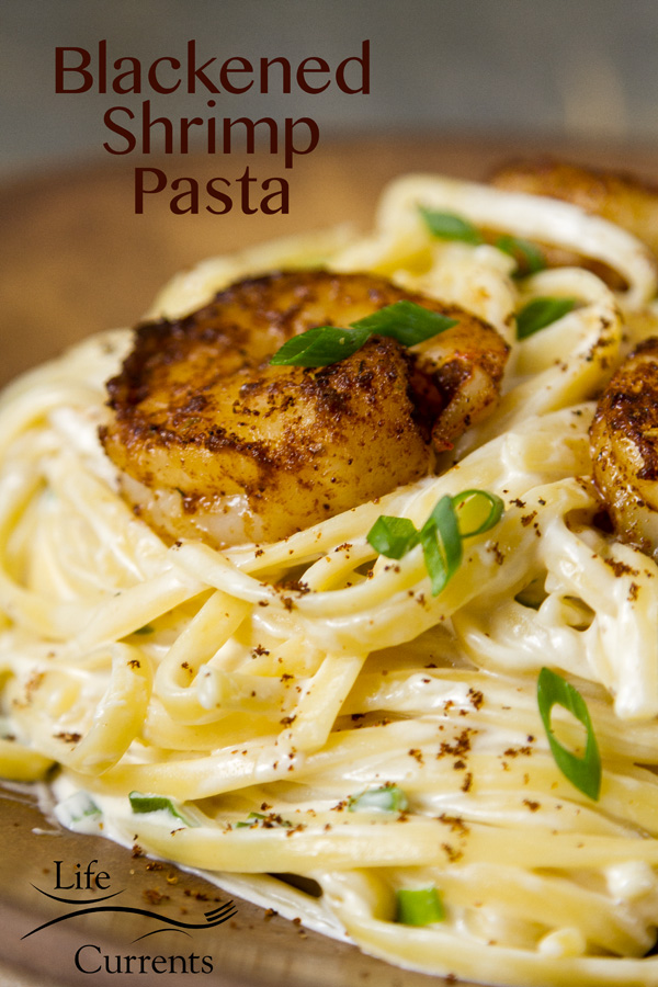 Blackened Shrimp Pasta - Cajun shrimp over a creamy cheese sauce – it doesn't have to be Mardi Gras to enjoy this easy to make pasta dish.