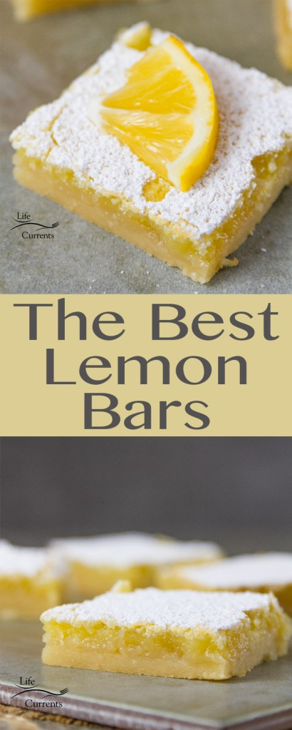 Easy to make, and in my opinion, these are the best Lemon Bars ever.  A light buttery shortbread crust covered with tangy sweet lemon curd, and simply topped with powdered sugar.