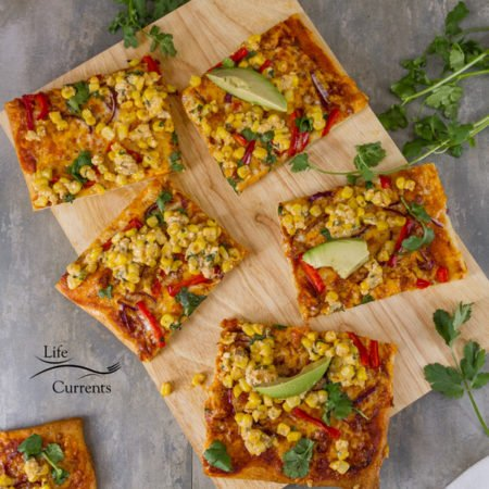 Mexican Street Corn Pizza Recipe cut into squares and ready for serving