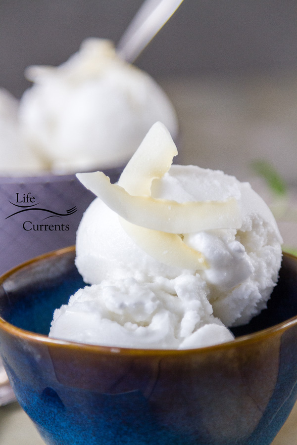 a blue bowl with coconut sorbet topped with coconut chips and a second one in the background