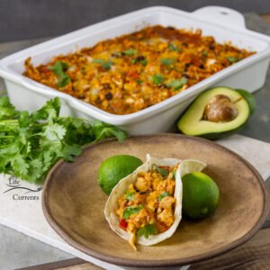 This quick and easy casserole bake can be served as a vegetarian main course, as a side dish, at a taco bar party, or as a nice casserole for company. Try it as a filling for tacos or burritos. Serve it over pasta or mashed potatoes for a fun twist.