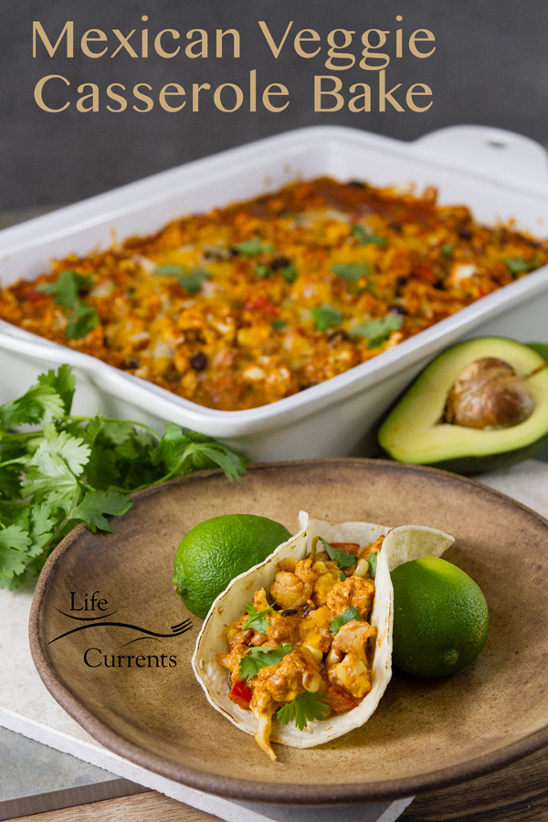 Mexican Veggie Casserole Bake is a delicious vegetarian main dish that bakes up with a full flavored delicious Mexican sauce, lots of veggies, and black beans.