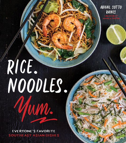 The cover of the cookbook Sweet Potato Rice Balls (Ondeh Ondeh) a sweet treat with a cookbook review of Rice. Noodles. Yum. by Abigail Sotto Raines