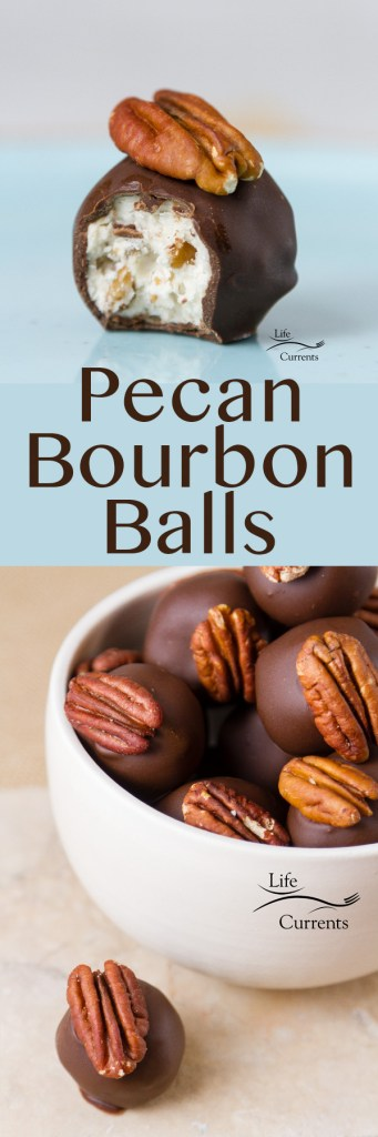 Pecan Bourbon Balls Recipe long pin with two images and a title