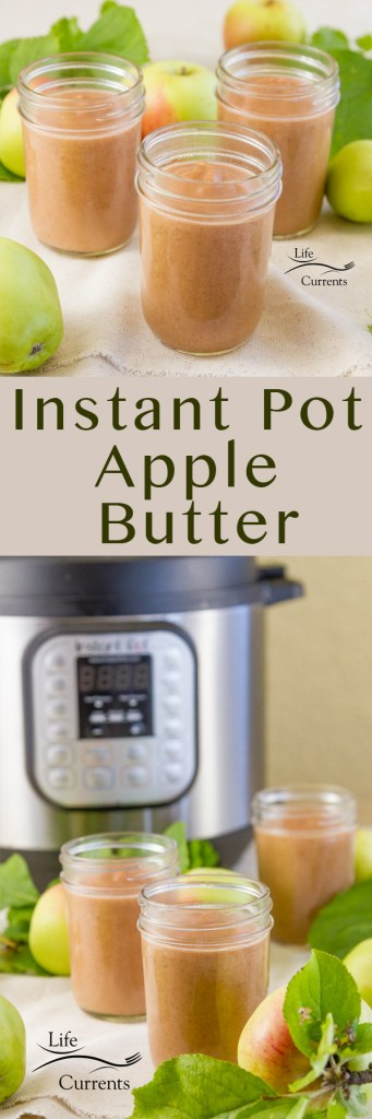 Long pin for pinterest with 2 images and a title: This is a great easy to make recipe for 3-minute sugar free Instant Pot Apple Butter. It's perfect for lunches or after school snacks, and it's super delicious! and a giveaway for The Big Book of Instant Pot Recipes